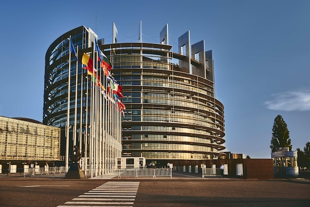 European parliament building in strasbourg, france with a clear blue sky in the background