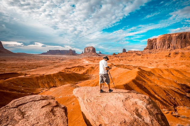 A european photographer at john ford's point in monument valley