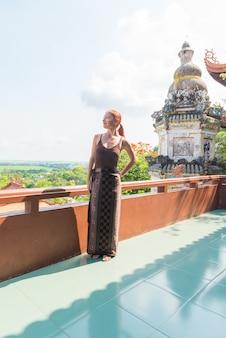 European tourist at buddhist temple