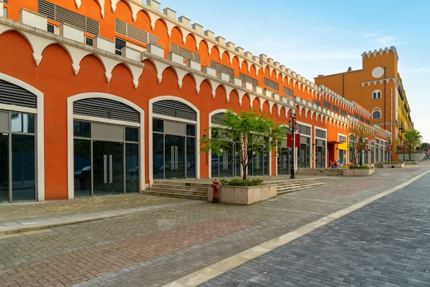 European town buildings and square in shopping center