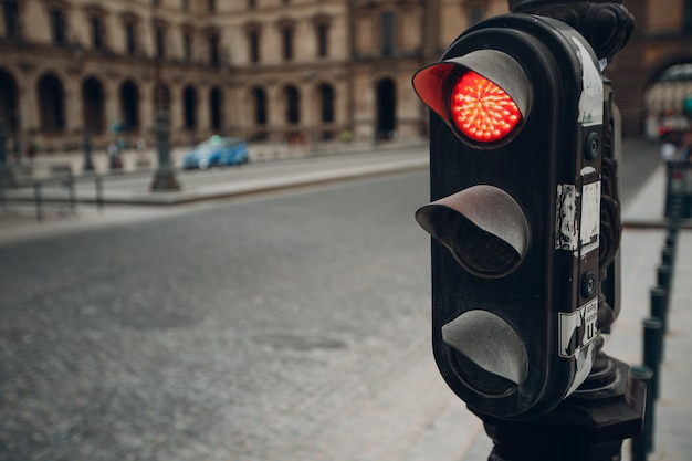 European traffic light on the street. rules of the road concept.