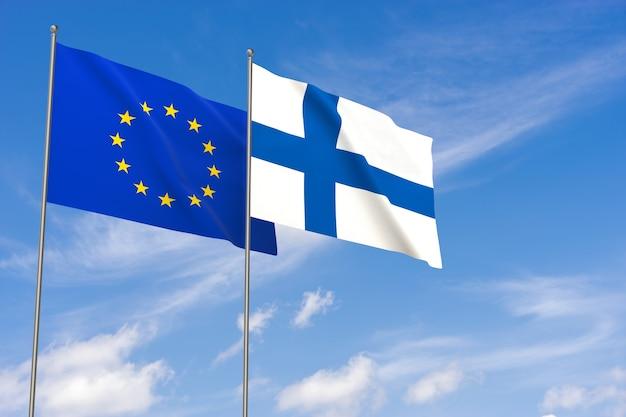 푸른 하늘 배경 위에 유럽 연합 및 핀란드 플래그입니다. 3d 일러스트레이션