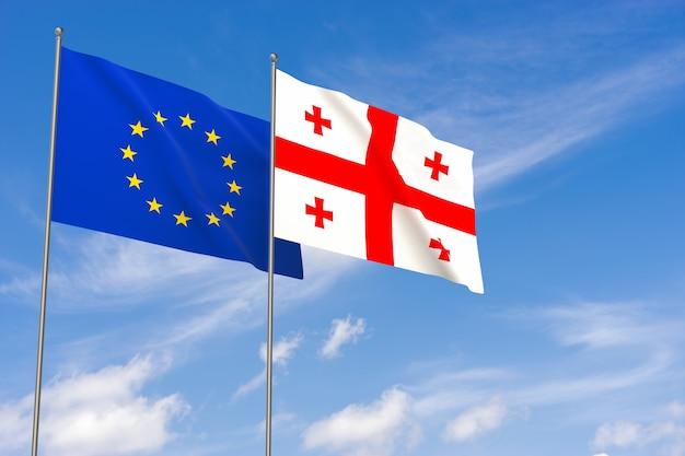 푸른 하늘 배경 위에 유럽 연합 및 조지아 플래그입니다. 3d 일러스트레이션