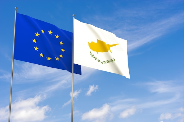 European union and cyprus flags over blue sky background. 3d illustration