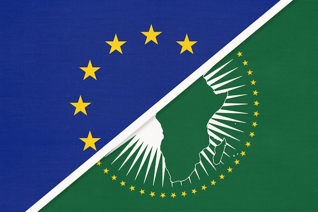 European union or eu and african union national flag