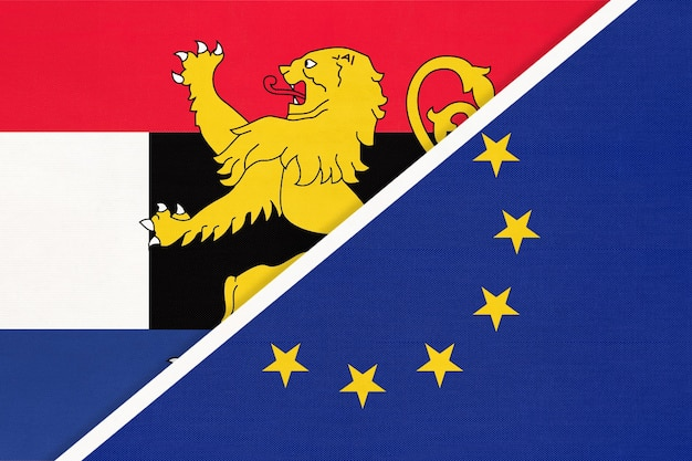 European union or eu and benelux union national flag, netherlands