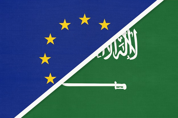 European union or eu and kingdom of saudi arabia national flag from textile.