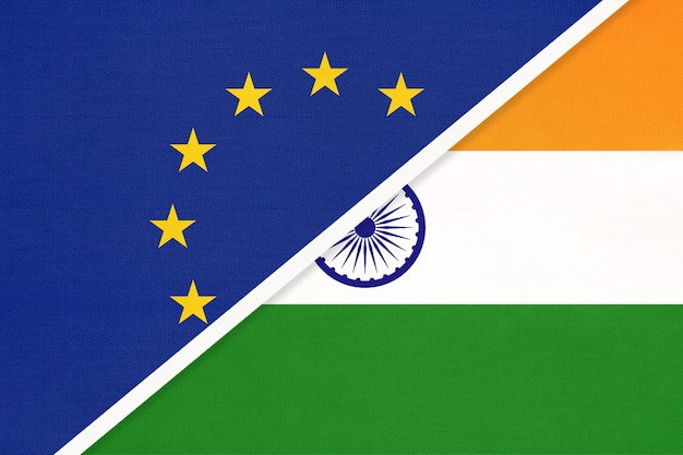 European union or eu and republic of india national flag from textile.
