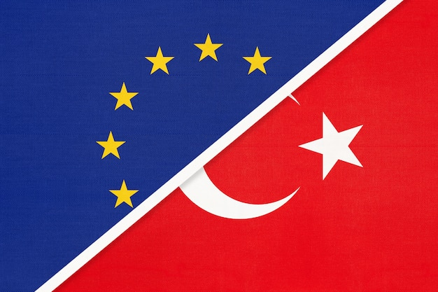 European union or eu and republic of turkey national flag from textile.