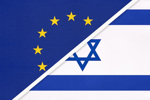 European union or eu and state of israel national flag from textile.