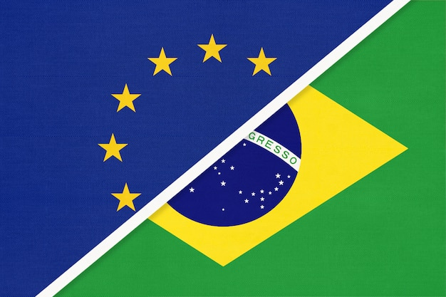 European union or eu vs brazil symbol of national flag from textile.