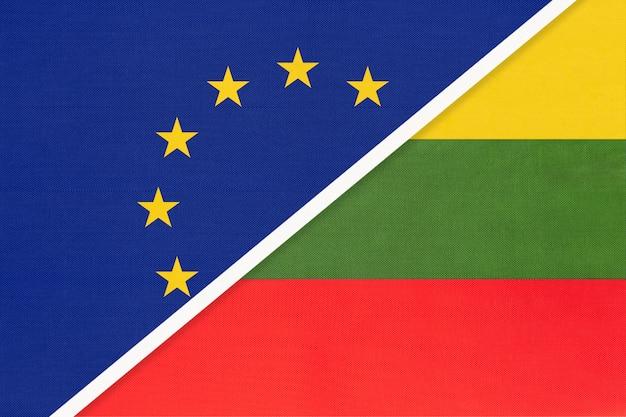 European union or eu vs lithuania national flag