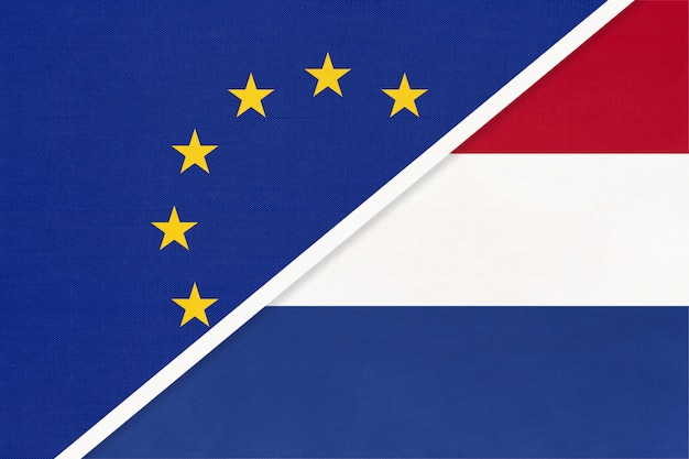 European union or eu vs netherlands symbol of national flag from textile.