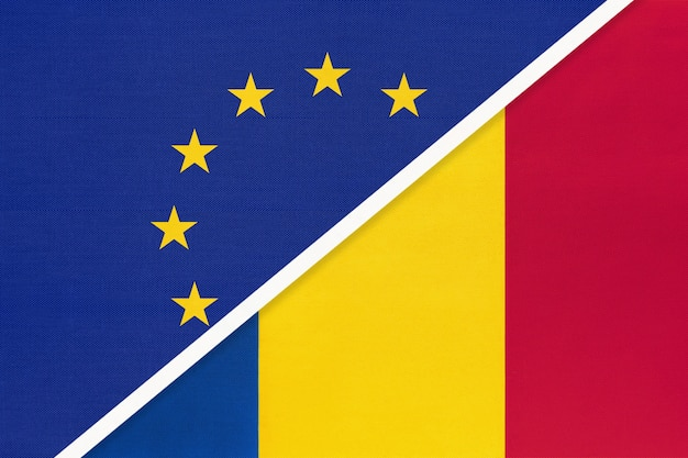 European union or eu vs romania national flag