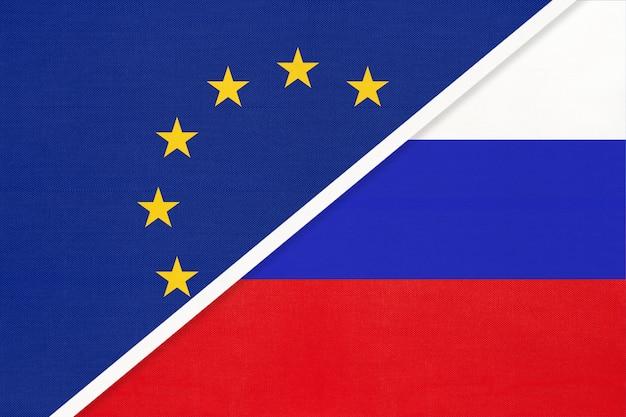 European union or eu vs russia national flag