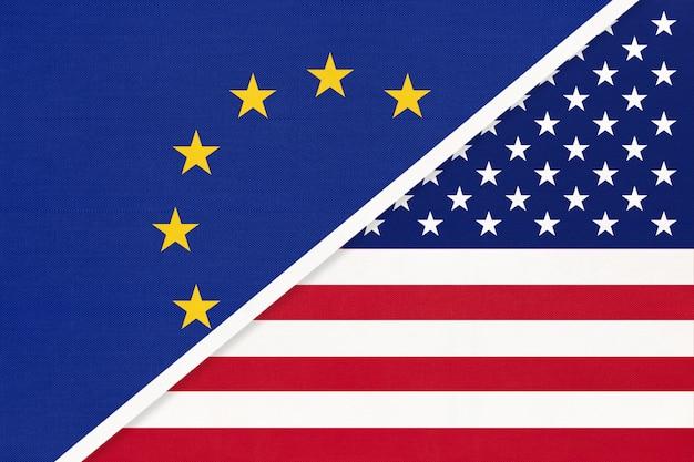 European union or eu vs usa symbol of national flag from textile.
