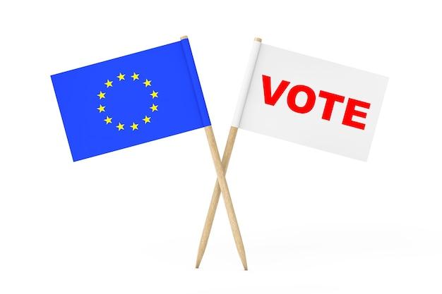 유럽 연합 깃발과 흰색 배경에 투표 기호가 있는 흰색 깃발. 3d 렌더링