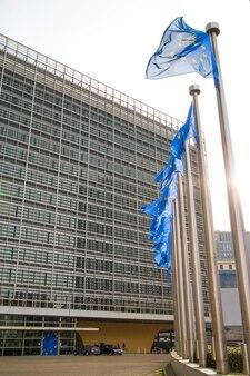 Флаги европейского союза возле парламента в брюсселе, бельгия