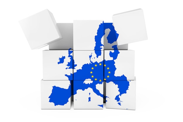 European union map in the form of cube on a white background. 3d rendering