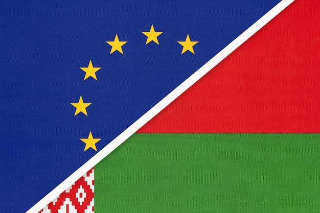 Европейский союз или ес против беларуси символ национального флага из текстиля.