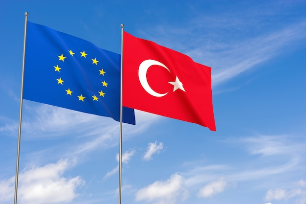European union and turkey flags over blue sky background. 3d illustration