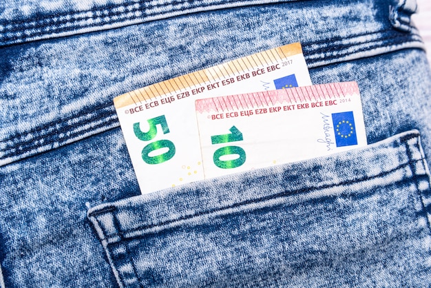 Euros in jeans pocket