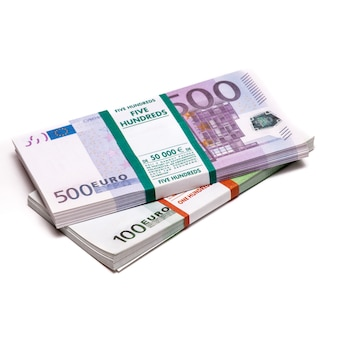 Euros money stack isolated