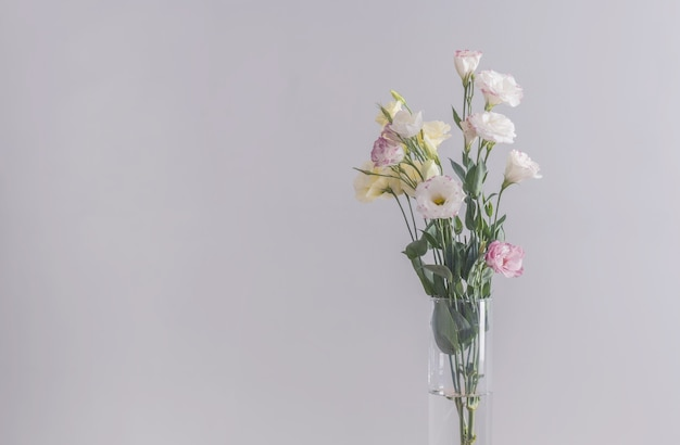 Eustoma flowers bouquet in a vase on a grey.