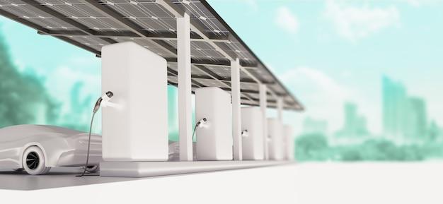 Зарядка автомобильной стоянки на современной зарядной станции с солнечными батареями и зеленым городом на заднем плане