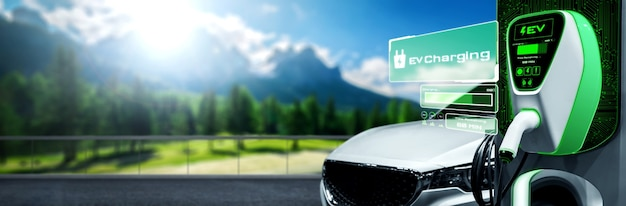 代替グリーンエネルギーをコンセプトにした電気自動車用ev充電ステーション