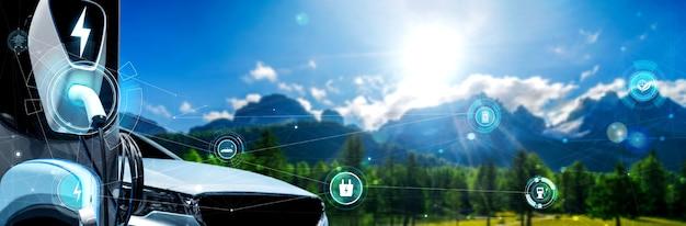 Зарядная станция для электромобилей в концепции альтернативной зеленой энергии