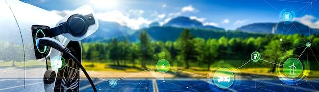 대체 녹색 에너지 개념의 전기 자동차용 ev 충전소