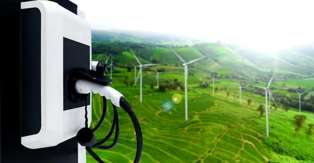 グリーン持続可能なエネルギーをコンセプトにした電気自動車用ev充電ステーション