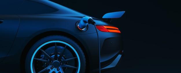 전기 충전소에서 낮은 배터리 충전으로 ev 전기 자동차 실루엣. 3d 렌더링 및 그림입니다.