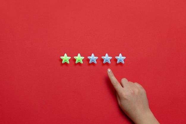 Оценка качества обслуживания и предоставления услуг. женская рука оставляет рейтинг двух звезд из пяти возможных на красном фоне.