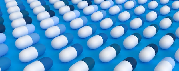 Even rows of blue pills on a blue background, 3d illustration