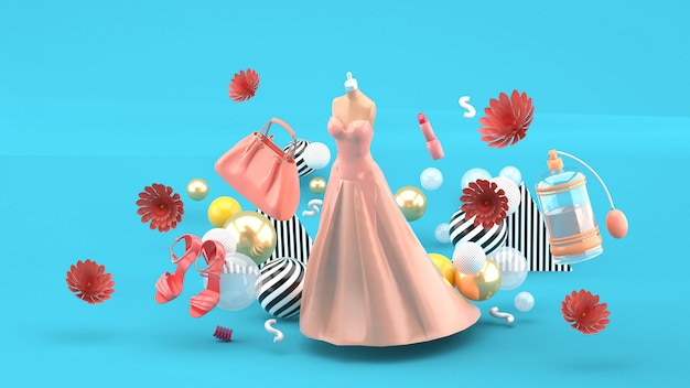 Evening dresses, bags, shoes and cosmetics floating among the flowers on blue. 3d rendering.