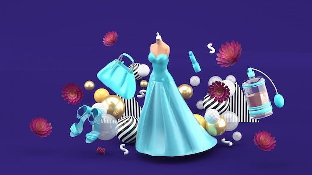 Evening dresses, bags, shoes and cosmetics floating among the flowers on purple. 3d rendering.