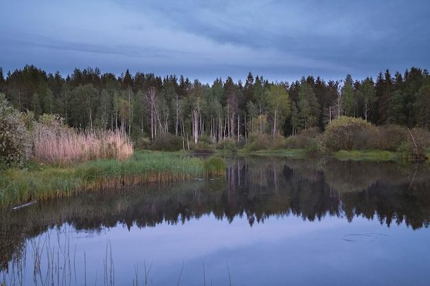 Вечер на пруду в парке ранней осенью