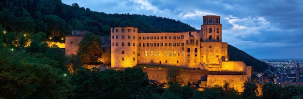 Evening panorama of heidelberg, germany with heidelberg castle and aerial view of the town