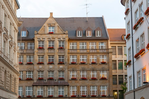 Evening scenery from munich city with traditional bavarian architecture