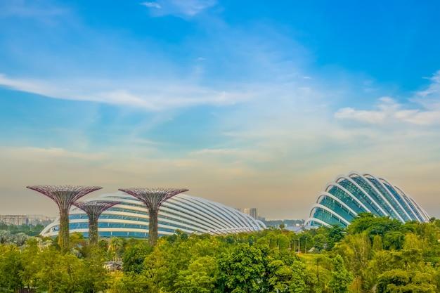 イブニングシンガポール。スーパーフラワーとフラワードームのあるガーデンバイザベイ