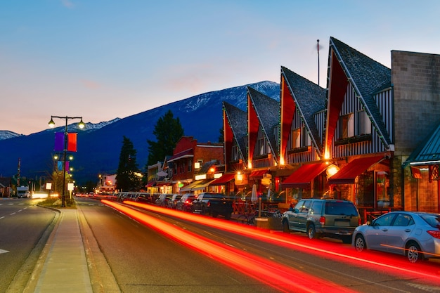 Evening on the streets in jasper canada