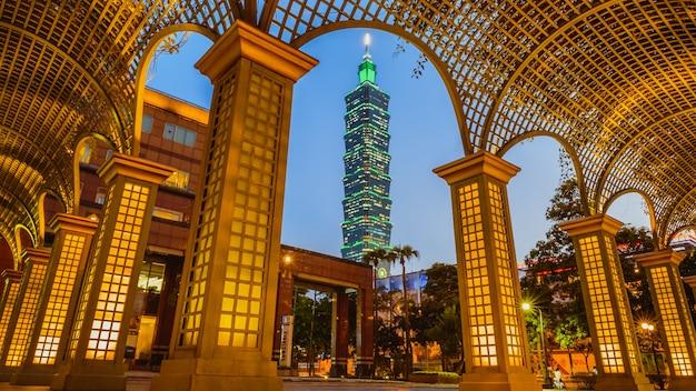 Evening of taipei city and taipei