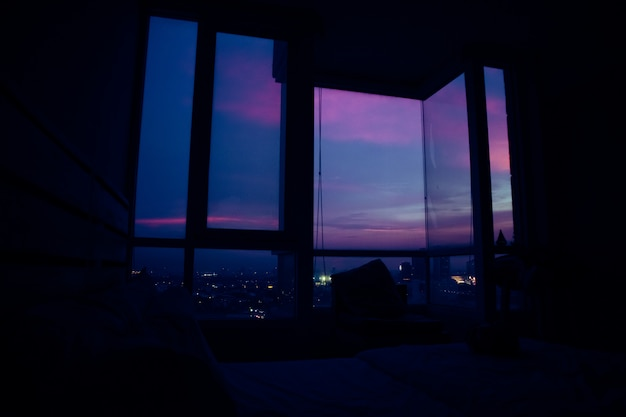 Evening view in an apartment.