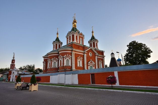 Evening view of the assumption brusensky convent, monastery at sunset