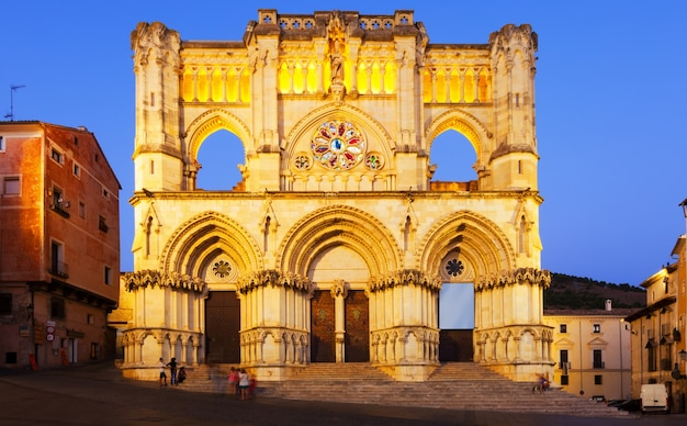 Evening view of cathedral in  cuenca