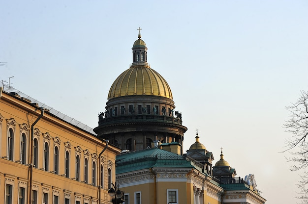 Evening view of the dome of st. isaac's cathedral in st. petersburg