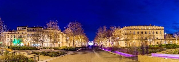Evening view of feucheres avenue in nimes