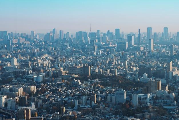 日本の東京市の上からの夕景